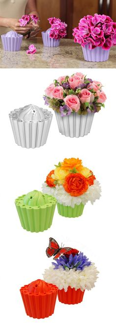 Cupcake Vases provide an affordable do-it-yourself solution to all floral centerpieces with placement holes to make decorating centerpieces quick and easy. #Cupcakes #Centerpieces
