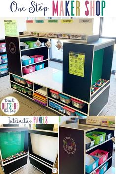 Your all-in-one Makerspace solution for elementary classrooms, media spaces, and STEM labs | Features interactive LEGO wall/green screen, magnetic dry erase panel, and dry erase tabletop.