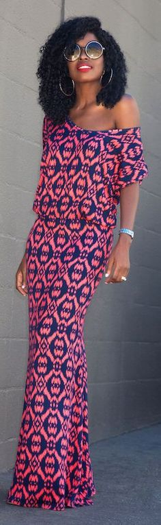 Printed V-neck Maxi Dress Fall Inspo by Style Pantry