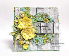 kartka z kwiatami / card with paper flower Floral Wreath, Scrapbooking, Wreaths, Cards, Decor, Floral Crown, Decoration, Door Wreaths, Deco Mesh Wreaths