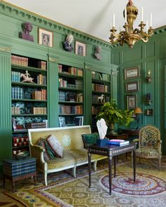 A green paneled library.