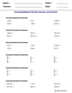 Fractions Decimals And Percentages, Decimals Worksheets, Printable Math Worksheets, Percents, Dividing Fractions, Multiplying Fractions, Equivalent Fractions, Ordering Fractions, Number Worksheets