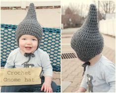 Crochet a baby gnome hat