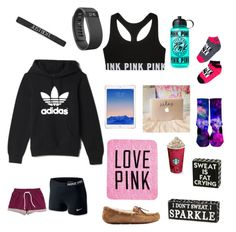 """""""Untitled #10"""" by ellierobbie on Polyvore featuring H&M, adidas, NIKE, Fitbit, UGG Australia and Victoria's Secret PINK"""