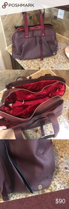 Lululemon bag Perfect condition, maroon leather workout bag. Multiple compartments, zippers and spots to store gear. No wear and tear. Beautiful color and perfect condition lululemon athletica Bags Totes