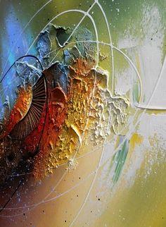 Peinture tableau abstrait contemporain encadré toile acrylique en relief noir vert jaune blanc cuivre bleu marron