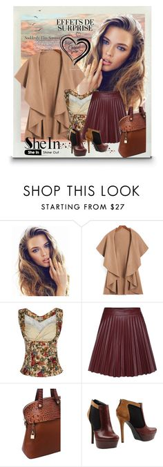 """""""Shein Khaki Loose Coat"""" by lila2510 ❤ liked on Polyvore featuring Jessica Simpson"""