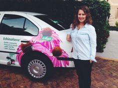 Keri and her newly branded Echinaforce car