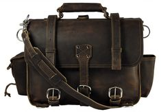 Made in USA Leather Briefcase Messenger Bag Backpack LARGE - Rich Chocolate Brown Distressed, Rugged
