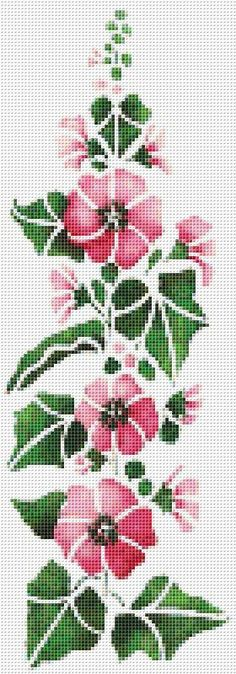 Hollyhock, Pink Flowers, Flower, Banner, Floral, Counted Cross Stitch Pattern, Xstitch Pattern
