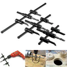 GBP 9,29 Aproximadamente 11,06 EUR  Ajustable-30-300mm-circulo-Sierra-perforadora-broca-Kit-para-Cortadora-De-Metal-Madera-hagalo-usted