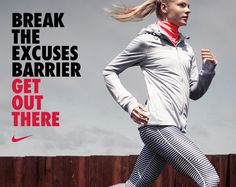 Break the excuses barrier. Get out there. #running #Nike