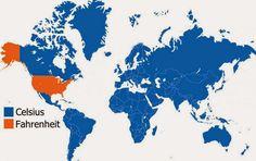 Países que usam Celsius e Fahrenheit para medir a temperatura