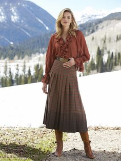 Shop our exclusive collection of women's luxury designer dresses and skirts. Sexy Blouse, Blouse And Skirt, Pleated Skirt, Dress Skirt, Ruffle Blouse, Cheap Maxi Dresses, Modest Dresses, Casual Skirt Outfits, Plaid Skirts