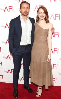 The LA LA Land co-stars smile big on the red carpet during the 17th Annual AFI Awards in Beverly Hills.