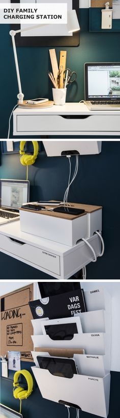 A family charging station makes a dedicated space at home to store everyone's gadgets! Click to see how to DIY a family charging station to organize your electronics in your home.