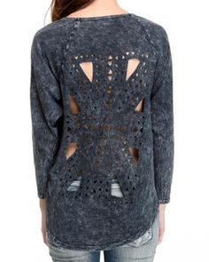 Laser cut long sleeve pullover Top by Fashion Lab