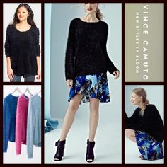 """❗️1-HOUR SALE❗️Vince Camuto Tunic Sweater Pullover 💟NEW WITH TAGS💟 $100 Vince Camuto Black Tunic Fuzzy Sweater Pullover  * Relaxed, oversized fit; Super soft & cozy eyelash yarns loose knit fabric  * Crew neck & 3/4 sleeves  * Lightly textured loose knit fabric  * Approx 23"""" front/26"""" back long  * Hi-Lo hem  ***Tagged size Medium Petite but will easily fit a standard size M as well (approx sizes 8-10) Fabric: 72% nylon, acrylic. Color: Black Item#V94400  🚫No Trades🚫 ✅ Offers Considered*✅…"""