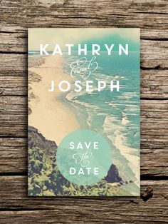 Tranquil Beach Wedding Save the Date Postcard // Destination Coast Waves Sand Modern Rustic