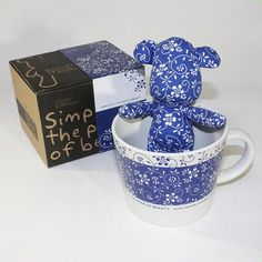 Kids SYNC - [Flower Blue] Stuffed Bear Mug (3.3 inch height)