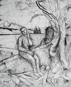 Caught in a Dream, 2013, brush & ink drawing.