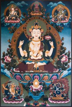 Chenrezig or Avalokitesvara is the Bodhisattva who has made a great vow to assist sentient beings on Earth in achieving nirvana. Tibetan Art, Tibetan Buddhism, Tibetan Symbols, Buddhism Wallpaper, Shiva, Vajrayana Buddhism, Thangka Painting, Buddhist Philosophy, Four Arms