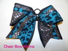 Black & Teal Cheetah Cheer Bow by Cheer Bow Mama