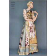 「Fresco print silk and cotton gown with fil coupè organza sleeves by Baroque Dress, Cotton Gowns, Alberta Ferretti, Beautiful Outfits, Beautiful Clothes, Modest Fashion, Fashion Beauty, Men's Fashion, Dress Skirt
