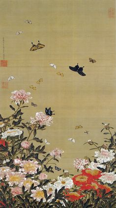 伊藤若冲 Ito Jakuchu/動植綵絵 Doshoku Sai-e(Colorful Realm of Living Beings)01-芍薬群蝶図 Shakuyaku Guncho-zu (Butterflies and Peonies)