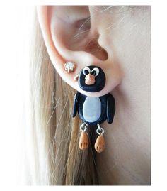 Fake gauge plug two part earrings black penguin , Polymerclay, handmade. $16.00, via Etsy.