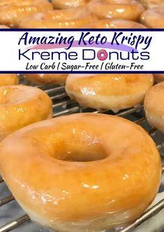 Amazing Keto Krispy Kreme Donuts recipe for living a healthy keto lifestyle Donuts keto Donuts Sugar Free Recipes, Donut Recipes, Low Carb Recipes, Coconut Flour Recipes Keto, Keto Desert Recipes, Tuna Recipes, Sugar Free Desserts, Protein Recipes, Recipes