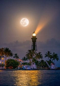 Full Moon Rise Pompano Beach at Lighthouse Cove by Kim Seng. Hillsboro Lighthouse in Pompano Beach along Lighthouse Cove at inlet. Beautiful Moon, Beautiful Places, Beautiful Pictures, Lighthouse Pictures, Shoot The Moon, Moon Photography, Photography Tips, Beacon Of Light, Belle Photo