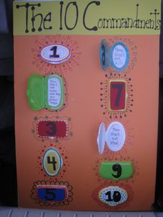 """10 COMMANDMENTS BOARD: Cut off dispenser lids on soft pack wipes packages (different brands for dif. colors & shapes). Fun for a """"peek-a-boo"""" effect when doing the 10 Commandments with your class. Use styrofoam board (Walmart). The kids really enjoy the """"surprise"""" commandment behind each door and makes them fun to memorize! ~JB"""