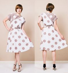 Zola Polka Dot Colorblock 1980s Dress  #vintage #vintagedress #dress #polkadot #graphic #colorblock