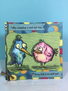 Get Well card using the Tim Holtz Crazy Bird stamp set.