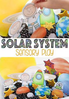 Free solar system printable for sensory bins, play dough or pretend play. A fun addition to a solar system theme! Solar System Activities, Space Activities For Kids, Space Preschool, Solar System Crafts, Free Preschool, Toddler Activities, Learning Activities, Preschool Prep, Kindergarten Fun