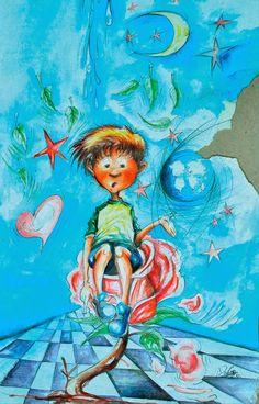 """La rosa de Franklin. ©Domingo Guzmán, 2011. Ilustración de portada del libro """"101 Niños Poetas de San Cristóbal"""". Fundación Literaria Anibal Montaño, FLAM."""