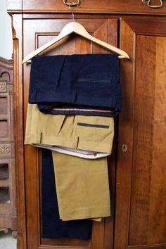 Dark Navy & Mustard Trousers