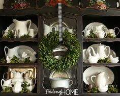 Boxwood and white pottery, Christmas Dining Room Hutch