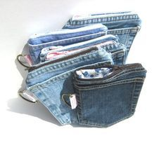 20 Best Old Jeans DIY to recycle old jeans Jean Crafts, Denim Crafts, Artisanats Denim, Jean Diy, Denim Ideas, Pocket Wallet, Jeans Pocket, Recycled Denim, Purses And Bags