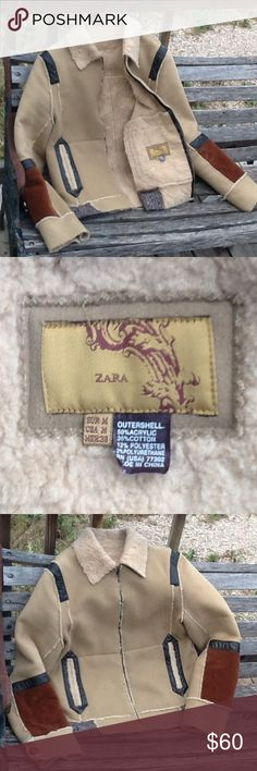 ZARA Hard to find! Gorgeous Zara coat. Like new! Only worn once and you can't tell. Soft camel colored material with Leather-like and shearling-like elements. Snatch her up before she's gone! Zara Jackets & Coats Utility Jackets