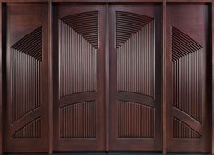 Mahogany Solid Wood Front Entry Door - Double with 2 Sidelites