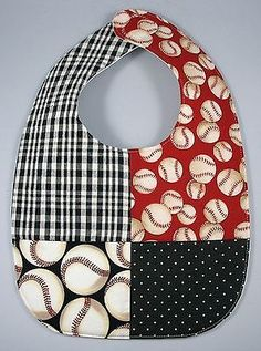 Baby Infant Baseball Bib with Waterproof Backing - Handmade