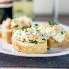 Make this perfect 2-bite Shrimp & Crab Crostini appetizer!