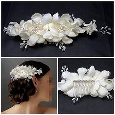 Wedding Party Hair, Wedding Hair Clips, Wedding Hair Flowers, Flowers In Hair, Fabric Flowers, Flower Hair, Pearl Flower, Wedding Veil, Hair Accessories For Women