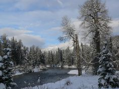 Winter view of the Wenatchee River from the deck of Heaven Can Wait Lodge.