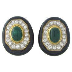 David Webb 18K Gold Platinum 2.00ctw Diamond Emerald Enamel Earrings