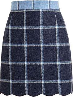 Tweed scalloped skirt.