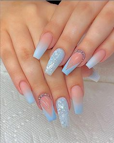 78 Hottest Classy Acrylic Coffin Nails Long Designs For Summer Nail Color - H . - 78 Hottest Classy Acrylic Coffin Nails Long Designs For Summer Nail Color – Pretty Nails – Hybr - Blue Acrylic Nails, Summer Acrylic Nails, Purple Nails, Summer Nails, Acrylic Art, Classy Nails, Stylish Nails, Coffin Nails Long, Long Nails