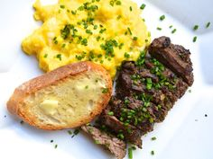 A new take on Steak and Eggs. Herb Marinated Steak and Soft Scrambled Eggs